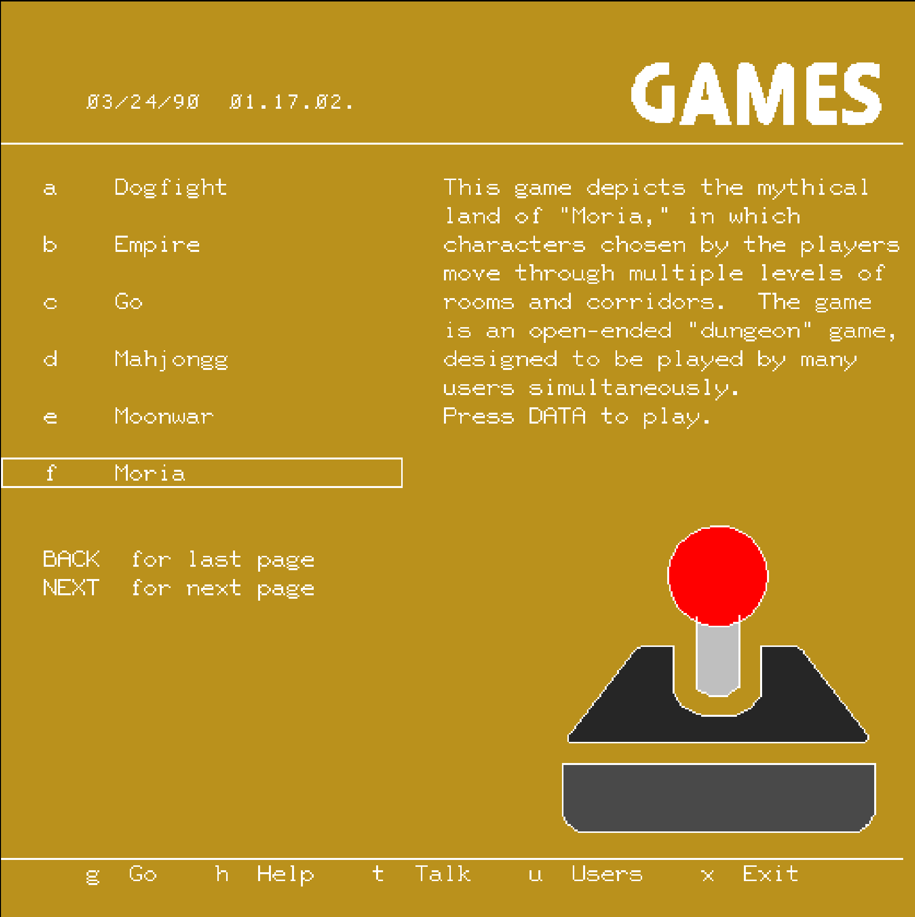Games Menu - Pterm