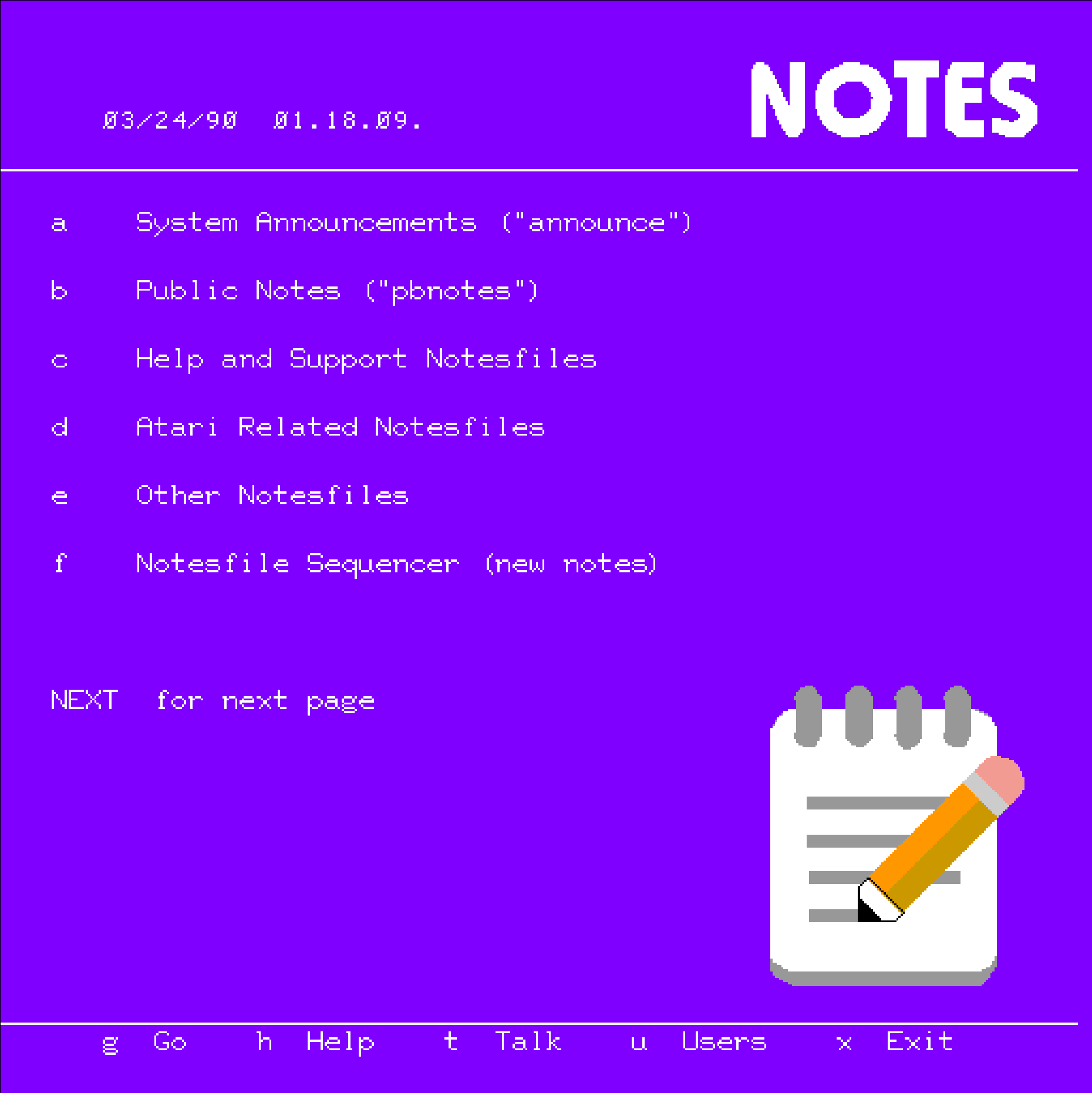 Notes Menu - Pterm
